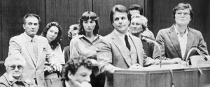 Six teachers and the founder of the McMartin Preschool in Manhattan Beach, Calif., appeared with their lawyer in court in April 1984 on child abuse charges. - Associated Press