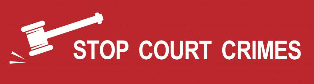 Stop Court Crimes bumpersticker