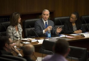 Governor Mark Dayton made a brief statement at the first child protection task force meeting on Monday morning. Co-Chairs Comm. Lucinda Jesson (left) and Toni Carter (right). Photo: Brian Mark Peterson, Star Tribune
